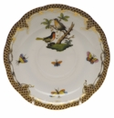 "Herend Rothschild Bird Chocolate Brown Border Tea Saucer - Motif 08 6""D"