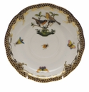 "Herend Rothschild Bird Chocolate Brown Border Tea Saucer - Motif 09 6""D"