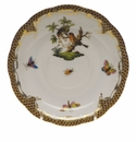 "Herend Rothschild Bird Chocolate Brown Border Tea Saucer - Motif 10 6""D"