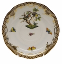 "Herend Rothschild Bird Chocolate Brown Border Tea Saucer - Motif 11 6""D"