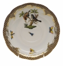 "Herend Rothschild Bird Chocolate Brown Border Tea Saucer - Motif 12 6""D"