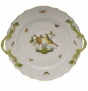 "Herend Rothschild Bird Chop Plate With Handles  12""D"
