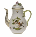 Herend Rothschild Bird Coffee Pot With Rose  (36 Oz) 8.5