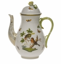 Herend Rothschild Bird Coffee Pot With Rose  (60 Oz) 10""