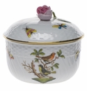 "Herend Rothschild Bird Covered Sugar With Rose  (10 Oz) 4""H"