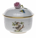 Herend Rothschild Bird Covered Sugar With Rose  (4 Oz) 3.25""