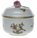 "Herend Rothschild Bird Covered Sugar With Rose  (6 Oz) 4""H"