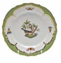 Herend Rothschild Bird Green Border Bread & Butter Plate - Motif 02 6""