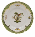 Herend Rothschild Bird Green Border Bread & Butter Plate - Motif 03 6""