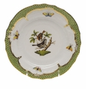Herend Rothschild Bird Green Border Bread & Butter Plate - Motif 04 6""