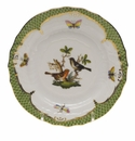 Herend Rothschild Bird Green Border Bread & Butter Plate - Motif 05 6""