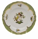 Herend Rothschild Bird Green Border Bread & Butter Plate - Motif 06 6""