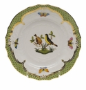 Herend Rothschild Bird Green Border Bread & Butter Plate - Motif 07 6""