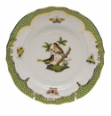Herend Rothschild Bird Green Border Bread & Butter Plate - Motif 08 6""