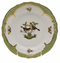 Herend Rothschild Bird Green Border Bread & Butter Plate - Motif 09 6""