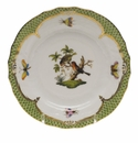 Herend Rothschild Bird Green Border Bread & Butter Plate - Motif 10 6""