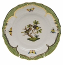 Herend Rothschild Bird Green Border Bread & Butter Plate - Motif 11 6""