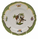 Herend Rothschild Bird Green Border Bread & Butter Plate - Motif 12 6""