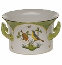 "Herend Rothschild Bird Green Border Cachepot With Handles  6.25""H X 1"