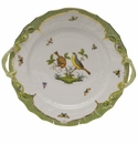 "Herend Rothschild Bird Green Border Chop Plate With Handles  12""D"
