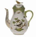 Herend Rothschild Bird Green Border Coffee Pot With Bird  (36 Oz) 8.5