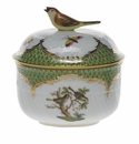 "Herend Rothschild Bird Green Border Covered Sugar With Bird  (6 Oz) 4""H"