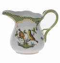"Herend Rothschild Bird Green Border Creamer  (6 Oz) 3.5""H Green"