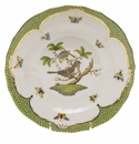 Herend Rothschild Bird Green Border Dessert Plate - Motif 01 8.25""