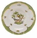 Herend Rothschild Bird Green Border Dessert Plate - Motif 02 8.25""