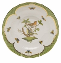 Herend Rothschild Bird Green Border Dessert Plate - Motif 03 8.25""