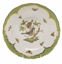 Herend Rothschild Bird Green Border Dessert Plate - Motif 04 8.25""