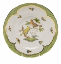 Herend Rothschild Bird Green Border Dessert Plate - Motif 06 8.25""