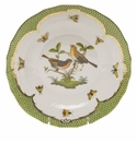 Herend Rothschild Bird Green Border Dessert Plate - Motif 09 8.25""