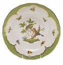 Herend Rothschild Bird Green Border Dessert Plate - Motif 10 8.25""