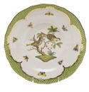 Herend Rothschild Bird Green Border Dessert Plate - Motif 11 8.25""