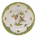 Herend Rothschild Bird Green Border Dessert Plate - Motif 12 8.25""