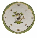 "Herend Rothschild Bird Green Border Dinner Plate - Motif 01 10.5""D"