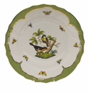 "Herend Rothschild Bird Green Border Dinner Plate - Motif 02 10.5""D"