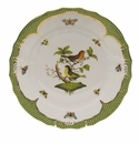 "Herend Rothschild Bird Green Border Dinner Plate - Motif 03 10.5""D"