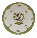"Herend Rothschild Bird Green Border Dinner Plate - Motif 04 10.5""D"