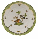 "Herend Rothschild Bird Green Border Dinner Plate - Motif 05 10.5""D"