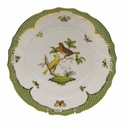 "Herend Rothschild Bird Green Border Dinner Plate - Motif 06 10.5""D"