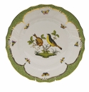 "Herend Rothschild Bird Green Border Dinner Plate - Motif 07 10.5""D"