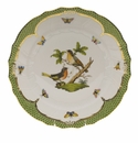 "Herend Rothschild Bird Green Border Dinner Plate - Motif 08 10.5""D"
