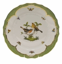 "Herend Rothschild Bird Green Border Dinner Plate - Motif 09 10.5""D"
