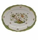 "Herend Rothschild Bird Green Border Platter  17""L X 12.5""W"