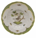 "Herend Rothschild Bird Green Border Rim Soup - Motif 02 9.5""D"