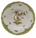 "Herend Rothschild Bird Green Border Rim Soup - Motif 03 9.5""D"