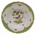 "Herend Rothschild Bird Green Border Rim Soup - Motif 04 9.5""D"