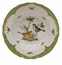 "Herend Rothschild Bird Green Border Rim Soup - Motif 05 9.5""D"